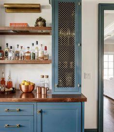 Walnut Countertop, Walnut Cabinets, Wood Countertops, Navy Cabinets, Upper Cabinets, Custom Cabinets, Kitchen Wet Bar, Kitchen Ideas, Kitchen Inspiration