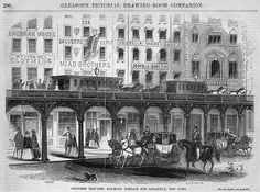 Gleason's Pictorial Drawing Room Companion - Proposed Elevated Railroad Terrace for Broadway, New York, 1854