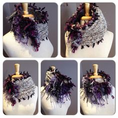 Hand knit funky fringed cowl, purple grey black cowl. One of a kind. By rockpaperscissorsetc on Etsy