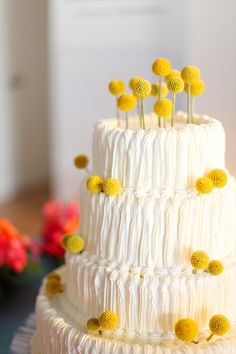 gorgeous tiered wedding cake with billy buttons!  photo by adrienne gunde, styled by sassy girl weddings, flowers by commerce flowers via wedding chicks