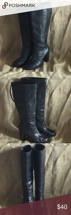 ADRIENNE VITTADINI BLACK BIRDIE BOOTS! LIKE NEW - TALL, ZIP UP, BLACK LEATHER BLACK BOOTS! SIZE 81/2M 4 INCH HEELS! VERY COMFORTABLE! Adrienne Vittadini Shoes Heeled Boots