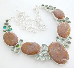 """.925 SILVER JEWELRY WOOD AGATE, CHRYSOLITE GEMSTONE NECKLACE SIZE 18""""  #Necklace"""