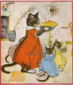 I think mommy cat is serving the fish pie from the Mousehole Cat book...Three Little Kittens from Mother Goose 1919