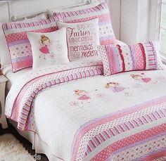 5 pcs cynthia rowley twin girl fairy princess with wand quilt u0026 sheets u0026 pillow