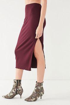 Slide View: 6: UO Lettuce-Edge High-Rise Midi Skirt