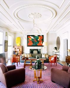 Colorful and spacious living room in Paris