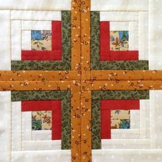 Tutorial Log Cabin l Patchwork Patchwork Log Cabin, Log Cabin Quilt Pattern, Log Cabin Quilts, Pattern Blocks, Barn Quilt Designs, Quilting Designs, Quilted Table Runners Christmas, Bird Quilt Blocks, Charm Quilt