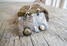 Sterling Silver Dangle Earrings, Rustic Silver Earrings, Earrings for women