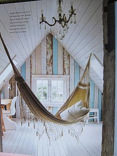 This dainty hammock fits perfectly into this decor