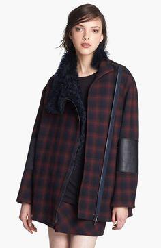 Plaid Jacket with Genuine Lamb Fur Trim $1,150.00