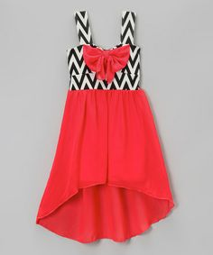 Loving this Coral Bow Zigzag Hi-Low Dress - Girls on #zulily! #zulilyfinds $19.99 plus an additional 15% off!!!!