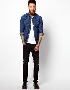 Image 4 ofLee Denim Western Shirt Slim Fit Mid Stone