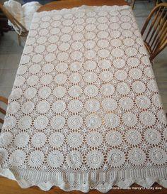 Gorgeous Vintage Hand Crocheted Ecru Cotton Rectangle Tablecloth 70 X 52  | eBay