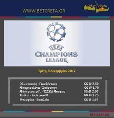 BetCreta: Champions league 5/12 - Επιλογές