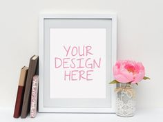 8x10 Mockup White Frame Mock-up Digital by PeachesNCreamArtShop