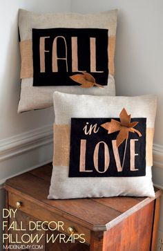 DIY Fall Decor Pillow Wrap, wrap a pillow fall quote, pillow quotes, pillow sayings, Silhouette Challenge, fall decor, easy craft, felt, free printable leaf