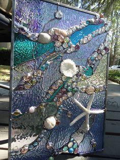 Stained Glass Window Tropical Starfish Sea Shell Sailboat Suncatcher Ocean Panel