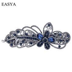 EASYA Blue Peacock Hairpins Rhinestone Crystal Flower Leaf Hair Clip  Barrettes Vintage Hair Accessories Jewelry For Women Girls e7d97d0bf9dd