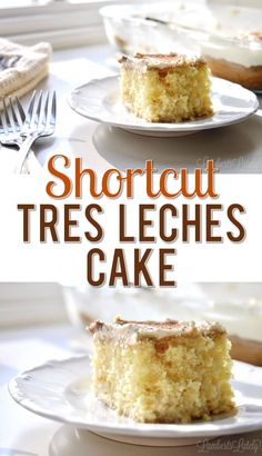 Need a shortcut recipe for Tres Leches Cake? This post shows you how to make it the easy way, with simple ingredients like boxed cake mix. Cobbler, Gâteau Tres Leches, Tres Leches Cupcakes, Easy Desserts, Delicious Desserts, Mexican Dessert Recipes, Mexican Dishes, Biscuits, Homemade Whipped Cream
