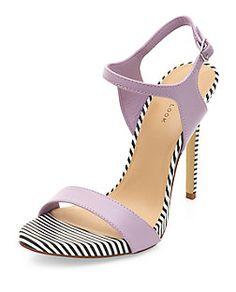Lilac Stripe Trim Ankle Strap Heels | New Look