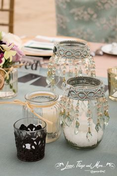 DIY - Aqua blue, lace, champagne and Mason Jars wedding decor! Pot Mason, Mason Jar Crafts, Bottle Crafts, Diy Jars, Mason Jar Lace, Bottles And Jars, Glass Jars, Diy Candles, Candle Jars