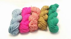 Mini Skein Set, hand dyed yarn, 5 x 20g skeins, hand dyed yarn, DK yarn, Yorkshire Dale Yarns, Roseberry Topping colourway, UK indie dyer https://www.etsy.com/uk/listing/473693717/mini-skein-set-hand-dyed-yarn-5-x-20g