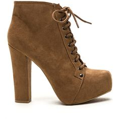 TAN Easy Decision Faux Suede Chunky Booties ($35) ❤ liked on Polyvore featuring shoes, boots, ankle booties, ankle boots, tan, tan booties, lace up booties, lace up platform bootie, chunky heel bootie and platform booties
