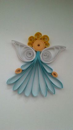 Angel, Quilling Art - modrý andílek