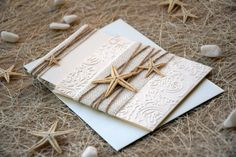 Destination Wedding Invitation Rustic Beach by PaperStudioByC