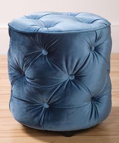 Teal Blue Tufted Round Ottoman