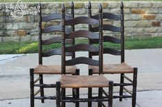 Staining Outdated Oak Ladder Back Chairs in Walnut!
