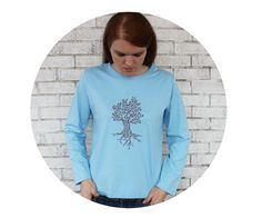 Ladies Tree Tee Shirt Long Sleeved Powder Blue by CausticThreads