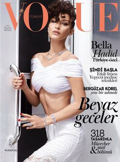 Bella Hadid in all white on the cover of Vogue Turkey