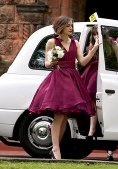 20 Stunning Marsala Bridesmaid Dress Ideas For Fall Weddings: #15. Retro styled marsala bridesmaid dress