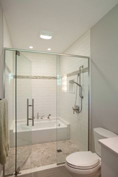 Love this arrangement by Nest Design .Guest Bathroom with Shower and Tub
