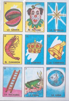 Loteria Mexican Bingo Card Game Set  Small by Redux4u on Etsy, $3.50 - similar images to the set I bought in Mexico that was printed on the other side of Downy carton cardboard...