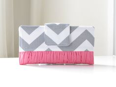 Womens Wallet, Gray and Pink Chevron Bifold Wallet with Rouching, Cottage Chic Wallet - PREORDER. $48.00, via Etsy.