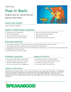 Lesson Plans: Puss in Boots | Speakaboos #Worksheets #lessons #education #kids #learning