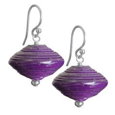 Purple Recycled Paper Earrings