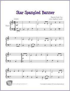 Star Spangled Banner | Sheet Music for Easy Piano - http://makingmusicfun.net/htm/f_printit_free_printable_sheet_music/star-spangled-banner-piano.htm