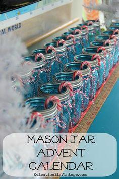 Fun Christmas Craft - Make a Mason Jar Advent Calendar!  eclecticallyvintage.com