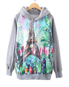 Watercolor Tulips And Eiffel Tower Print Grey Hoodie SS0230010