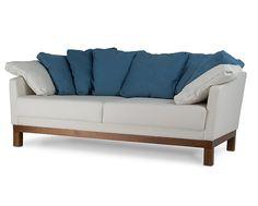 Sofá Lotus 2 Lugares c/ 8 Almofadas Azul e Cinza