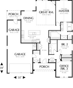 Traditional Style House Plan - 3 Beds 2 Baths 1797 Sq/Ft Plan #48-594 Floor Plan - Main Floor Plan - Houseplans.com