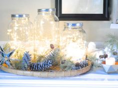 Love the blue and white. Country Living.