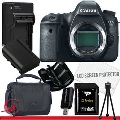 Canon EOS 6D Digital Camera (Body Only) 32GB Package 3 by Sony. $1932.58. Package Contents:  1- Canon EOS 6D Digital Camera (Body Only) with all supplied accessories 1- 32GB SDHC Class 10 Memory Card 1- Rapid External Ac/Dc Charger Kit   1- USB Memory Card Reader  1- Rechargeable Lithium Ion Replacement Battery  1- Weather Resistant Carrying Case w/Strap  1- Pack of LCD Screen Protectors  1- Camera & Lens Cleaning Kit System  1- Mini Flexible Table Top Tripod 1- Memory Ca...