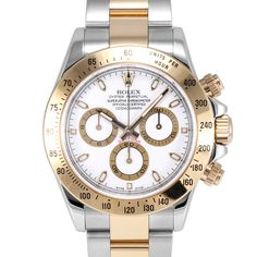 Men's Rolex Daytona Steel and Gold White Dial Tachymeter Engraved Bezel Oyster Band New Style
