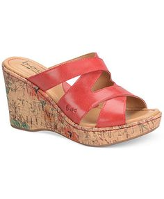 b.o.c. by Born Zazu Platform Wedge Sandals leather red, sand 3.5h (52.49) NA