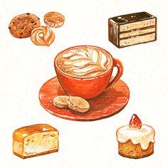 Food Doodles, Chibi Food, Japanese Drawings, Watercolor Food, Food Backgrounds, Food Journal, Food Drawing, Doodle Drawings, Food Illustrations