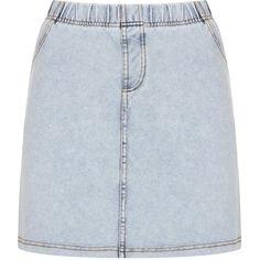TOPSHOP Denim Look Mini Skirt ($23) ❤ liked on Polyvore